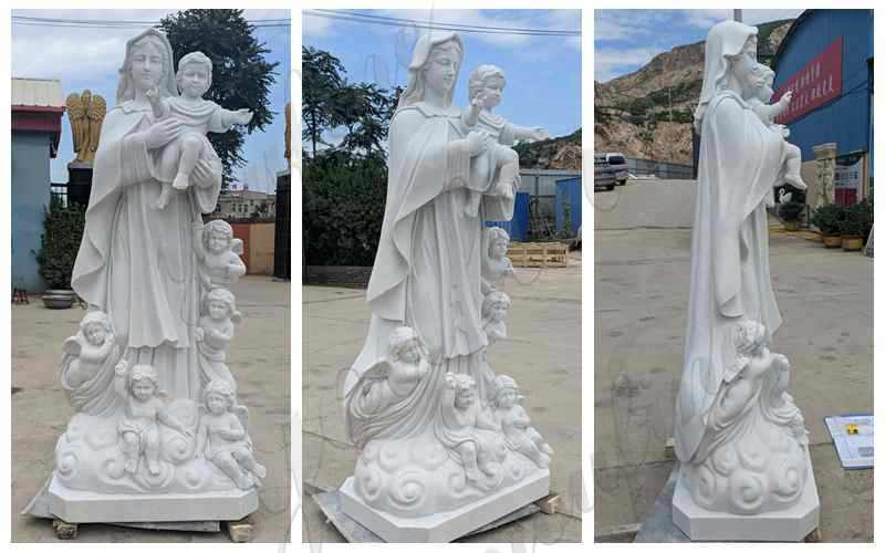 Hand Carved Marble Madonna and Children Statue
