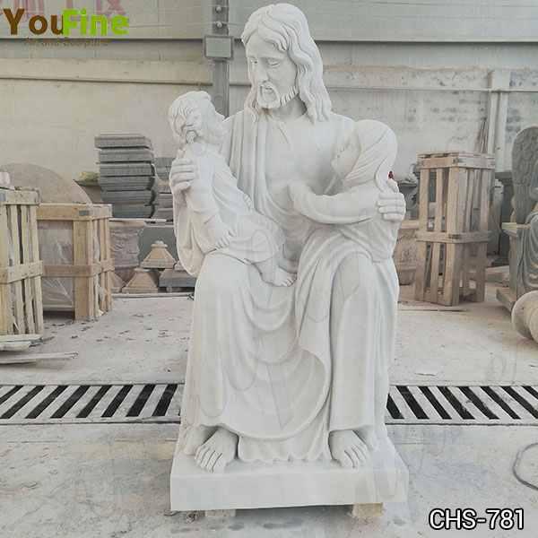 Marble Jesus with Children Statue Church Garden Decor for Sale CHS-781